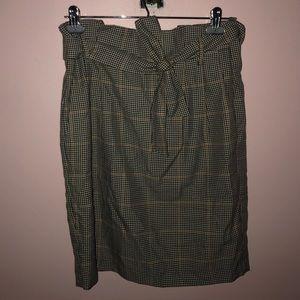 Paper bag waist houndstooth skirt